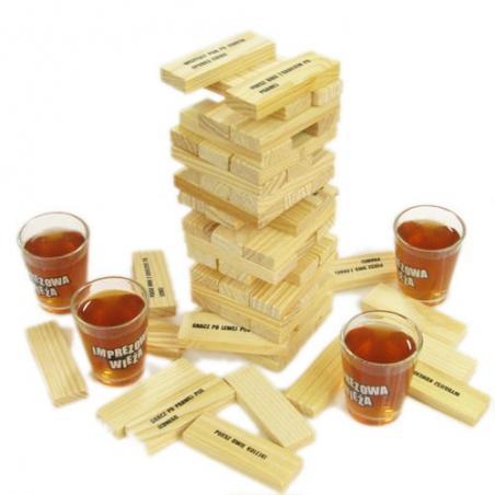 Imprezowa wieża - jenga, gra alkoholowa