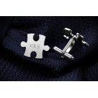 Srebrne spinki do mankietów, personalizowane, puzzle