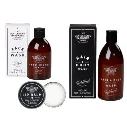 Zestaw świąteczny żel do mycia włosów i ciała, do mycia twarzy, balsam do ust w worku Mikołaja