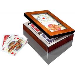 Karty Piatnik w drewnianym pudełku