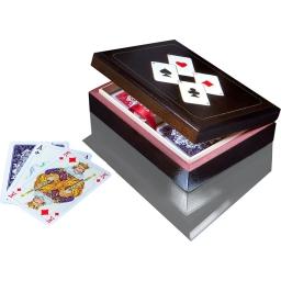 Karty Piatnik w drewnianej szkatułce