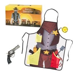 Sheriff Grill, zestaw grillowy dla Szeryfa, fartuch, rewolwer, odznaka