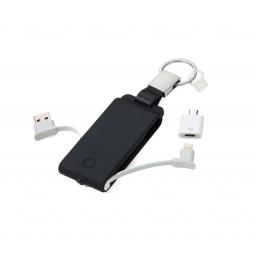 Brelok do kluczy z ładowarką do telefonu, latarką i  kablem USB Power Keyring