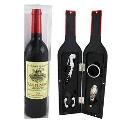 Akcesoria do wina w etui w kształcie butelki