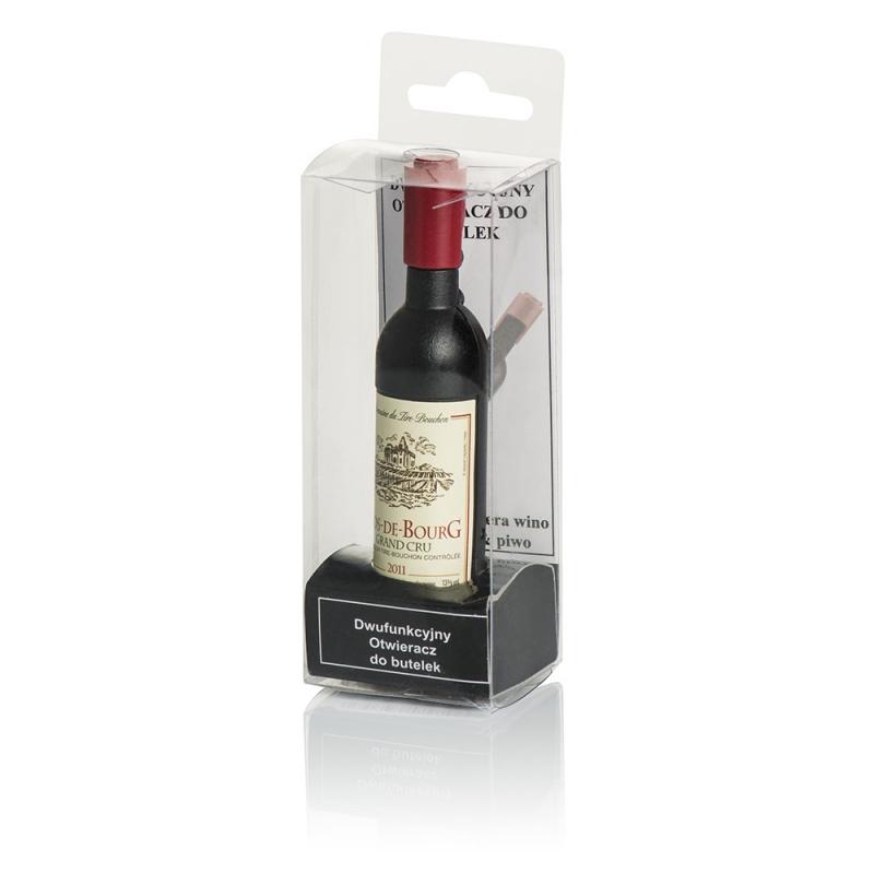Korkociąg z otwieraczem do kapsli w kształcie butelki wina