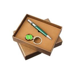 Zestaw prezentowy na szczęście brelok 4-listna koniczyna, długopis