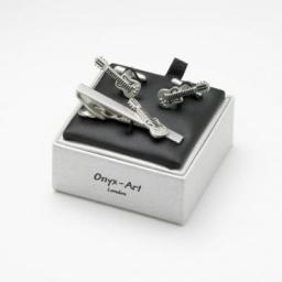 Spinki do mankietów, spinka do krawata Gitara Klasyczna Zestaw Onyx-Art London.