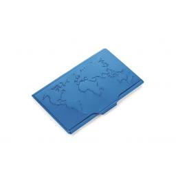 Aluminiowe etui na wizytówki mapa świata TROIKA