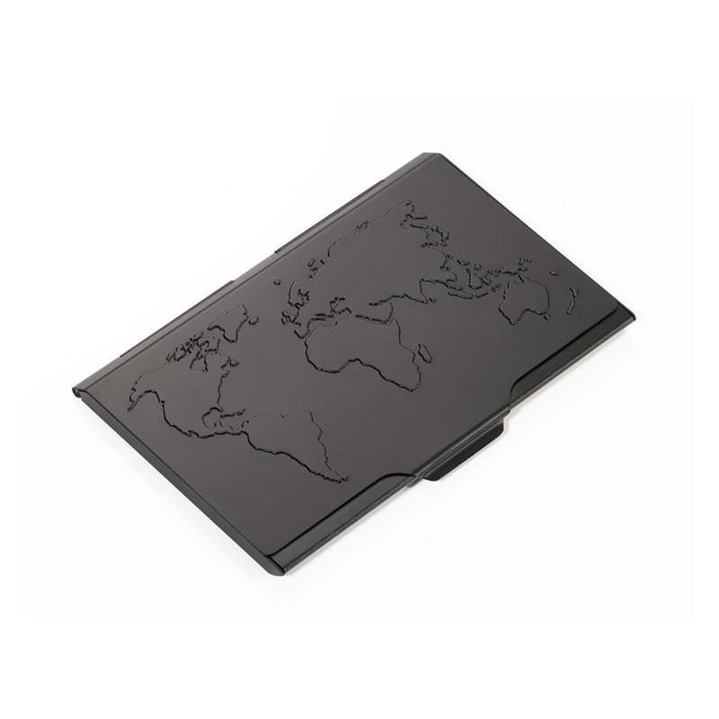 Aluminiowe Etui Na Wizytówki Mapa świata Troika Czarne