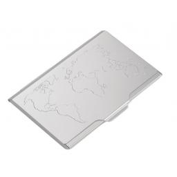 Aluminiowe etui na wizytówki mapa świata stalowy TROIKA