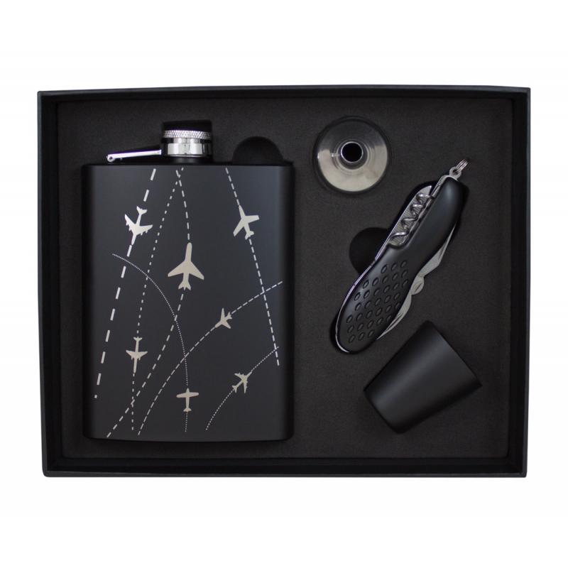 Zestaw piersiówka z samolotami, scyzoryk, kieliszek i lejek w opakowaniu prezentowym