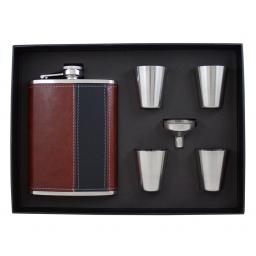 Elegancki zestaw stylowa piersiówka, 4 kieliszki i lejek w opakowaniu prezentowym