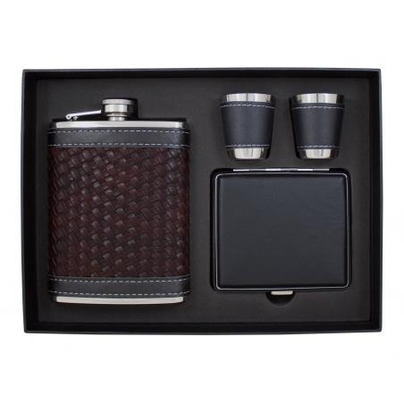 Luksusowy zestaw z elegancką piersiówką, papierośnicą i 2 kieliszkami