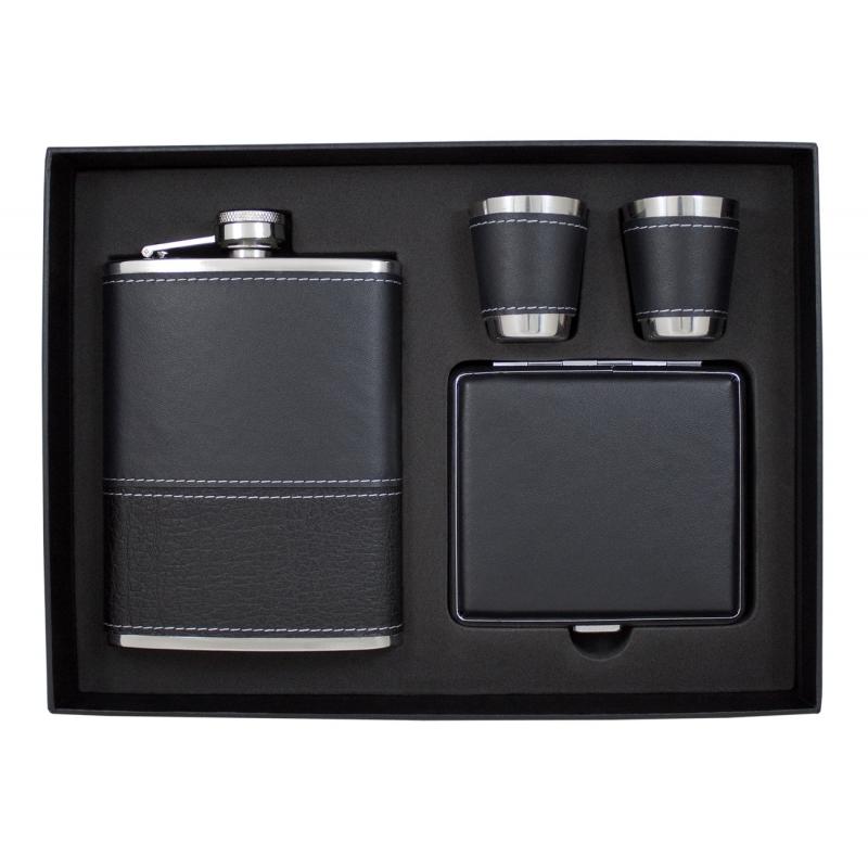 Stylowy zestaw elegancka piersiówka, papierośnica, 2 kieliszki w opakowaniu prezentowym