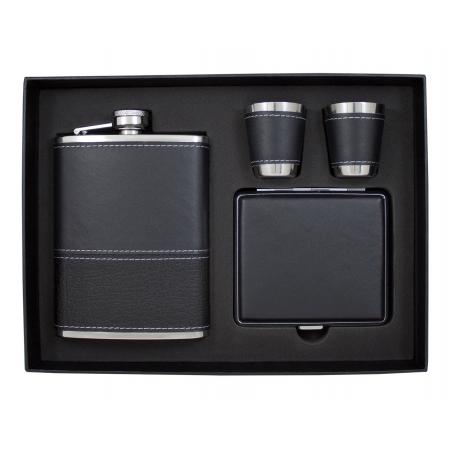 Stylowy zestaw elegancka piersiówka, papierośnica, 2 kieliszki