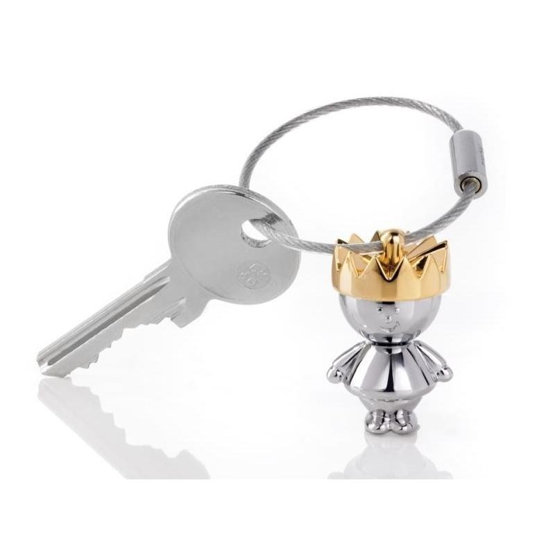 Chromowany brelok do kluczy mały Król Troika