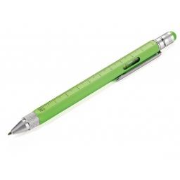 Wielozadaniowy długopis z linijką Construction zielony neon-TROIKA