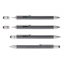 Wielozadaniowy długopis z linijką Construction metaliczny szary-TROIKA