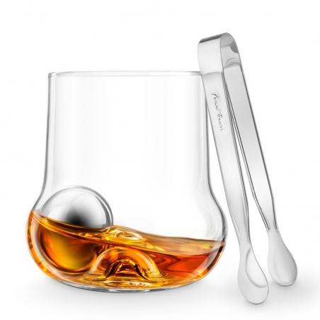 Zestaw do whisky szklanka kule chłodzące szczypce Rockroller Final Touch