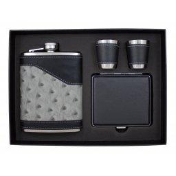 Zestaw prezentowy z piersiówką i papierośnicą oraz kieliszkami