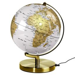 Podświetlany globus lampa świecący globus Arctic White Metallic Brass