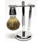 Zestaw do golenia 3w1 na żyletki chromowany Sarome UK