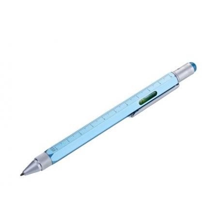 Wielozadaniowy długopis z poziomicą Metaliczny Niebieski Construction TROIKA