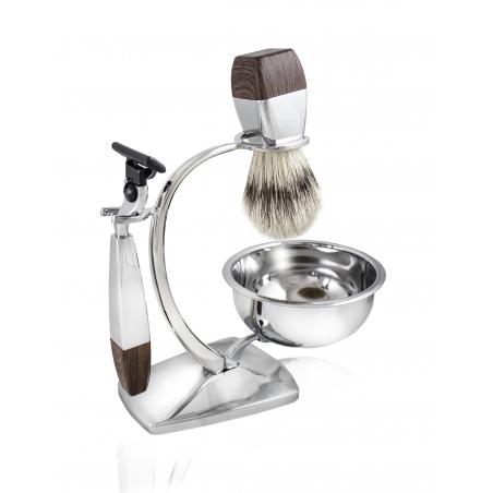Zestaw do golenia z miską i maszynką Gillette MACH3 Wood Larus