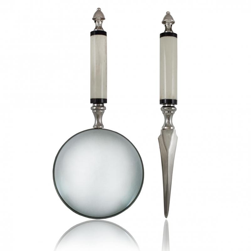 Lupa i nóż do kopert w eleganckim etui Impressive