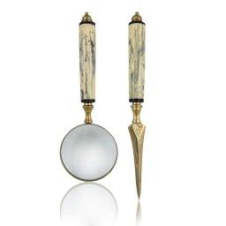 Nóż do kopert i lupa w etui Gold