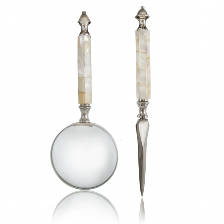 Nóż do kopert i lupa w etui Pearl