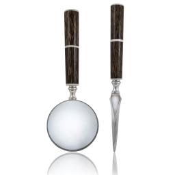 Lupa i nóż do kopert w eleganckim etui Classic Wood