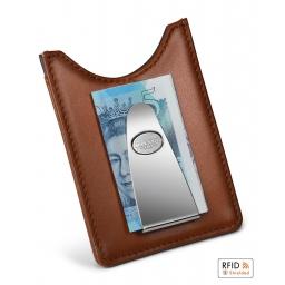 Etui na karty z klipem na banknoty RFID Tan Dalvey