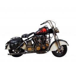 Motocykl retro replika czarny z czerwonym płomieniem