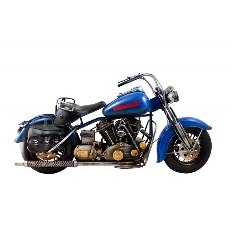 Motocykl retro replika niebieski