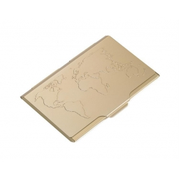 Aluminiowe etui na wizytówki mapa świata złote TROIKA