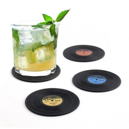 Winyle płyty winylowe podkładki pod szklanki 4 szt. Balvi Gifts