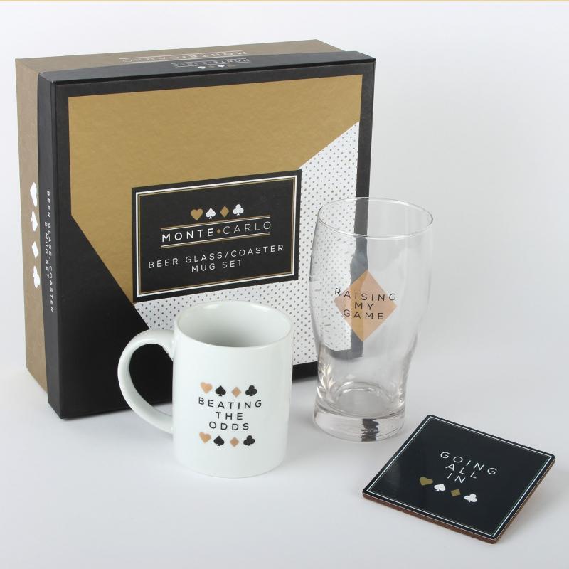 Zestaw prezentowy kubek, szklanka, podkładka Monte Carlo Widdop