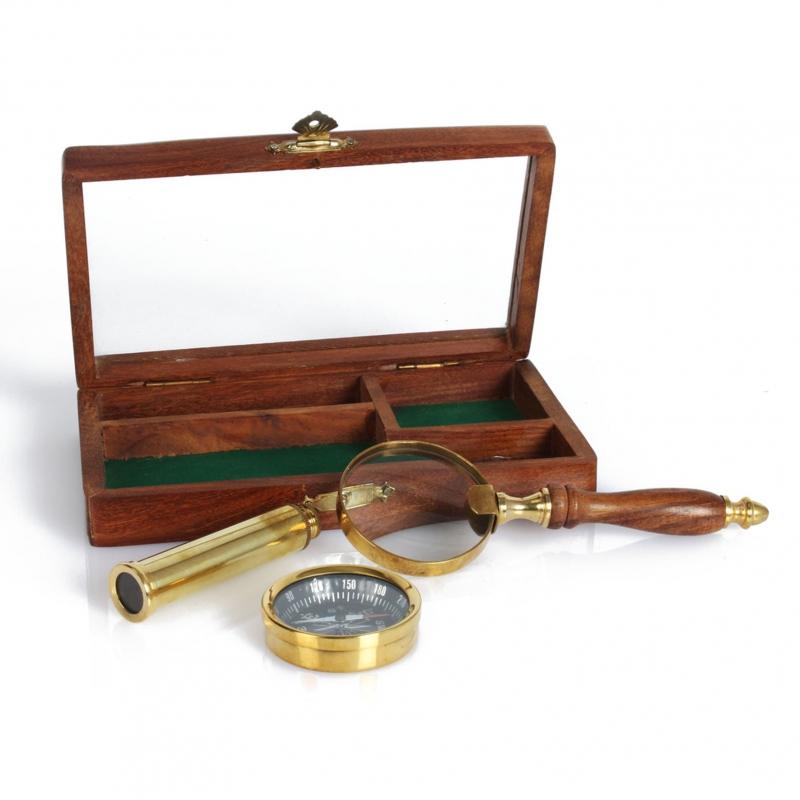 Zestaw kompas, teleskop, lupa w drewnianej skrzynce Emporium - Widdop