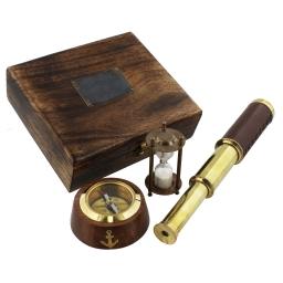 Zestaw kompas, teleskop, klepsydra w drewnianej skrzynce Emporium - Widdop