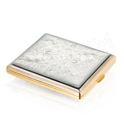 Chromowana papierośnica ze złotymi wykończeniami V.H Collection