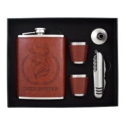Zestaw elegancka piersiówka, scyzoryk, lejek i kieliszki w opakowaniu prezentowym
