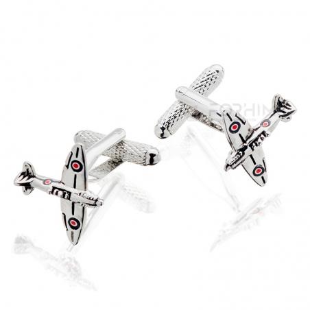 Spinki do mankietów Samolot Spitfire Onyx-Art London.