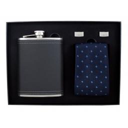 Zestaw z piersiówką, krawatem i spinkami do mankietów Elegant