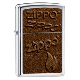 Zapalniczka Zippo Logo Leather Image, High Polish Chrome