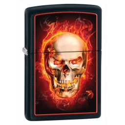 Zapalniczka Zippo Burning Skull, Black Matte