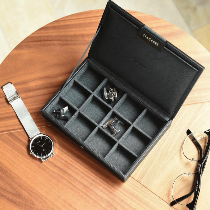 Pudełko na spinki do mankietów i biżuterię czarne Stackers