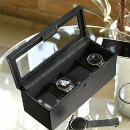 Pudełko na 4 zegarki czarne Stackers