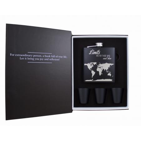 Komplet piersiówka mapa świata 180ml i 3 kieliszki w książce
