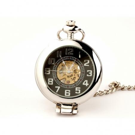 Elegancja w Srebrze ( black) Zegarek kieszonkowy na łańcuszku
